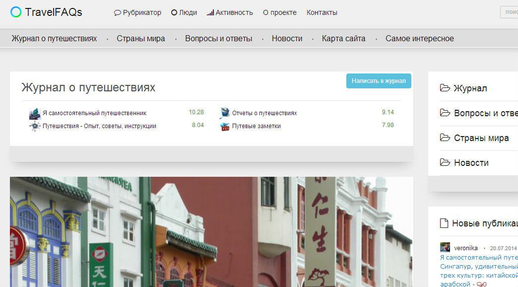 создание статьи в Журнале сайта travelfaqs.ru